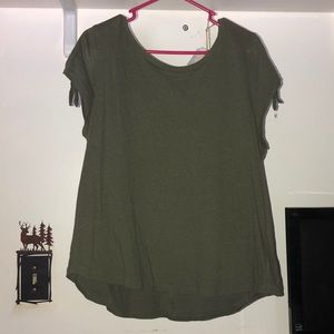 Olive green short sleeve blouse.